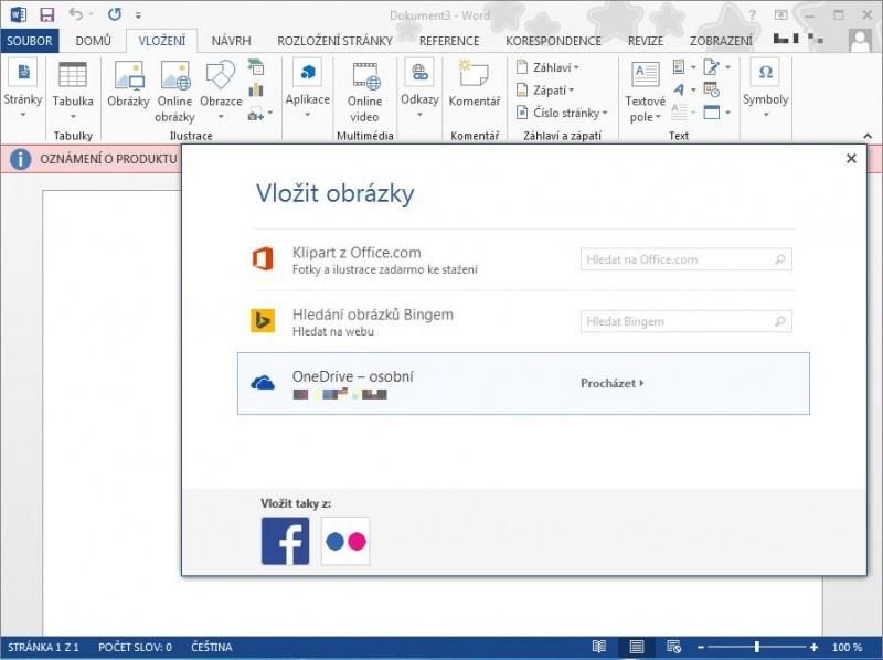 Vyberte si zdroj, odkud chcete obrázek vkládat. K dispozici máte Klipart z Office.com,Hledání obrázků Bingem či vlastní úložiště OneDrive