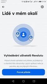Revolut lze použít i pro platbu mezi dvěma neznámými osobami. Stačí zapnout vyhledávání a být v dosahu bluetooth.