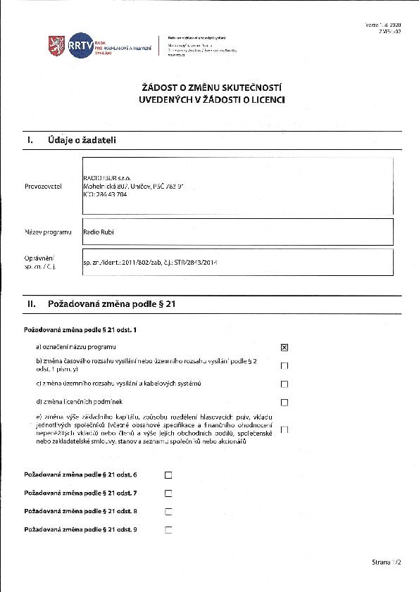 Žádost o přejmenování Radia Rubi