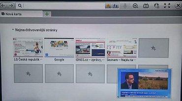 Webový prohlížeč má LG velice šikovný. Hlavně ale už z výroby obsahuje několik přednastavených odkazů na stránky. Tohle prakticky nikde jinde neuvidíte. V okně navíc běží aktuální, který jde ale i vypnout.