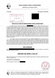 Dopis od ČKFaŽ s.r.o., IČO 10687874. Firma vznikla 19. 03. 2021. (08/2021)