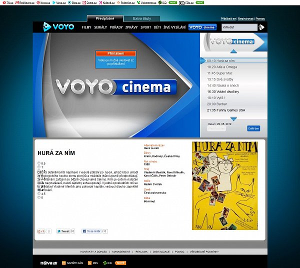 Náhled internetového kanálu Voyo Cinema.