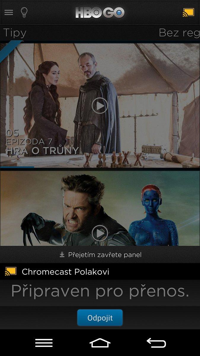 Prostředí HBO GO pro streamovací zařízení Chromecast od Googlu