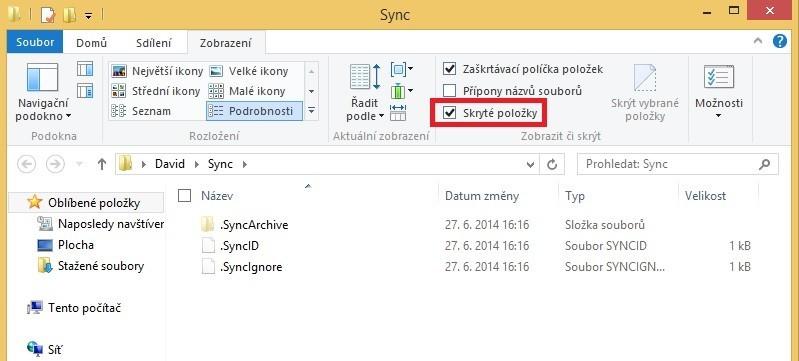 Pokud chcete u služby BitTorrent Sync využívat funkci historie verzí, pak je třeba v Průzkumníku souborů povolit zobrazování skrytých položek.