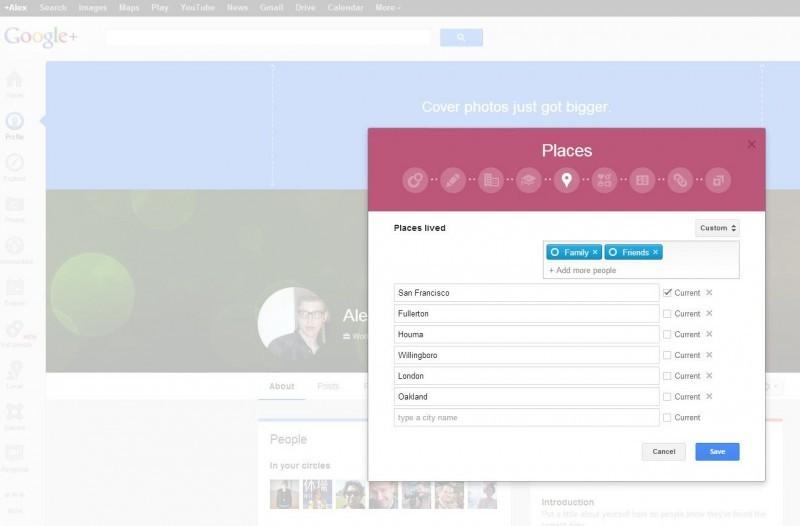 Rychlé vyhodnocení vašeho profilu na Google+. Povšimněte si nabídky Kruhy, která se nachází v pravém horním rohu každého záznamu a která vám umožňuje nastavit úroveň soukromí naprosto individuálně.