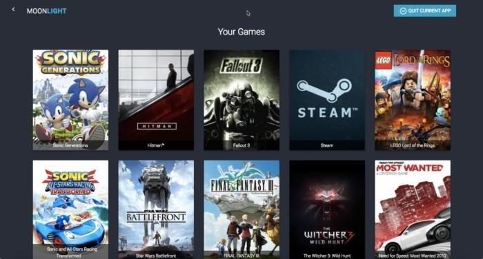 Jednoduché, ale velmi atraktivní rozhraní aplikace Moonlight s knihovnou her plnou kompatibilních herních titulů