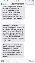 Poslední dvě SMS patřily asi jiným zákazníkům Napky...