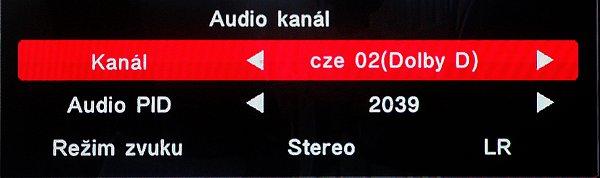 Nastavení audio výstupu zeleným tlačítkem audio.