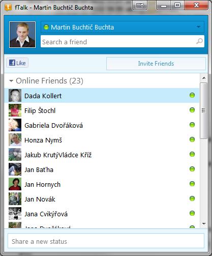 fTalk je pěkně zpracovaný klient pro Facebook chat