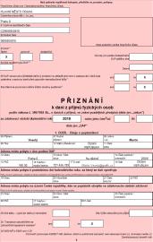 První strana daňového přiznání - vyplněná automaticky.