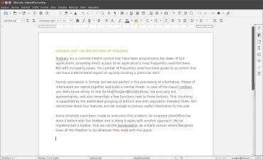 Současné rozvržení rozhraní LibreOffice