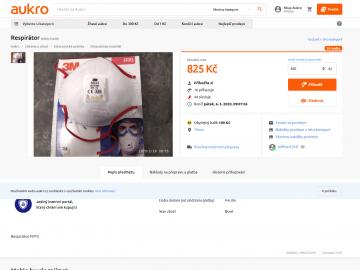 Jeden respirátor třídy FFP3 vás může na Aukru.cz vyjít až na 825 korun.