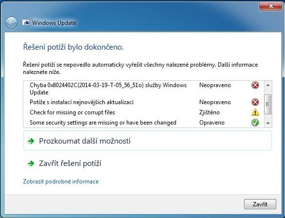 Řešení problému s instalací aktualizací