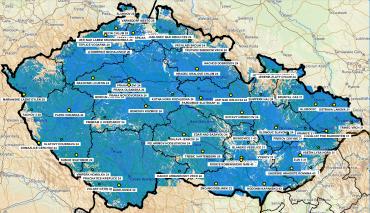 Mapa pokrytí Přechodové sítě 13