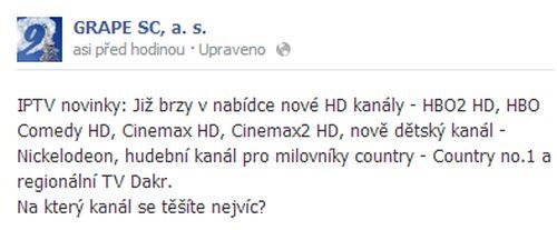 Status operátora Grape SC na sociální síti Facebook