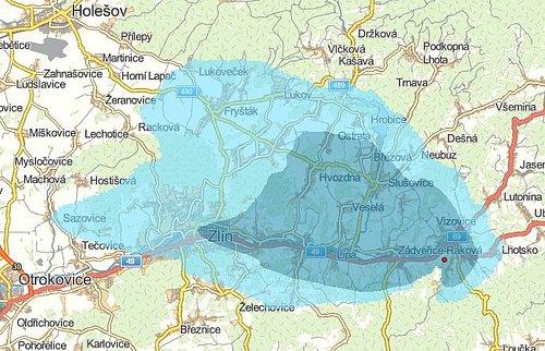 Předpokládané pokrytí signálem digitálního rozhlasu z Vizovic