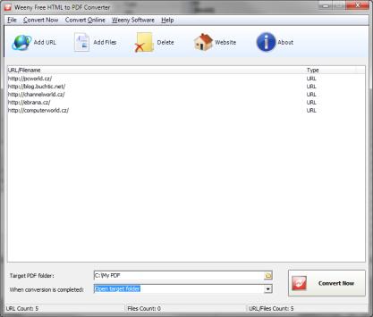 Free HTML to PDF Converter převede web do PDF