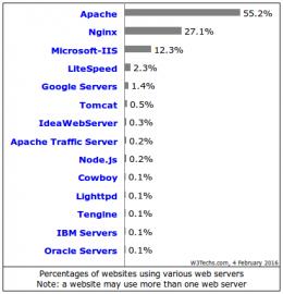 Zastoupení webserverů podle W3Techs.