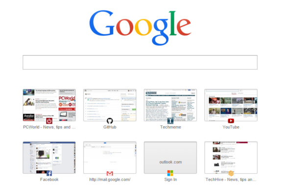 Stránka , která se v internetovém prohlížeči Google Chrome zobrazí při vytvoření nové záložky