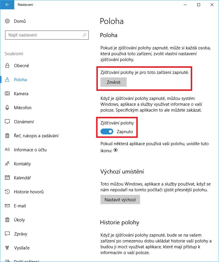 Zjišťování polohy ve Windows 10