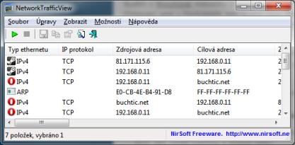 Pomocí NetworkTrafficView můžete sledovat síťový provoz