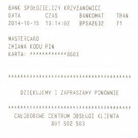 V zahraničních bankomatech lze úspěšně změnit PIN. Bankomat Bank Spółdzielczy, Polsko.