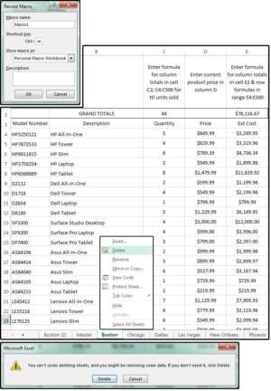 Záznam makra, sloučení dat, odstranění duplicitních listů