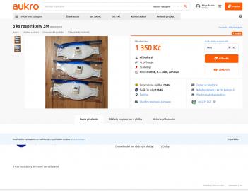 Na Aukru si můžete pořídit 3 respirátory i za cenu 1350 korun.