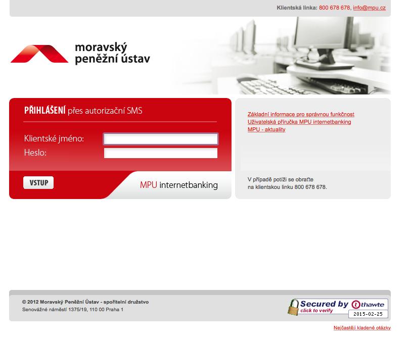 Moravský Peněžní ústav. Internetové bankovnictví