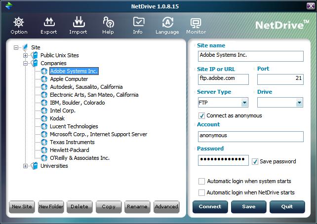 NetDrive připojí FTP jako síťový disk