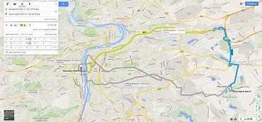 Vyhledání spojení prostřednictvím MHD včetně jízdních řádů na mapách Googlu.