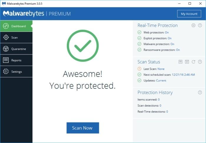 Program Malwarebytes je spolehlivým nástrojem poskytujícím další úroveň ochrany počítače před nechtěným softwarem