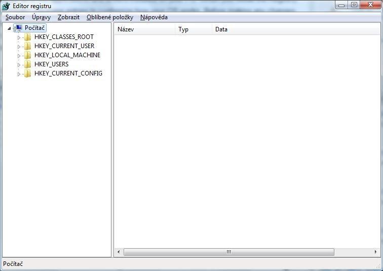 Pokud pro úpravu obsahu registru použijete nástroj integrovaný přímo ve Windows 7, pak po jeho spuštění uvidíte pět hlavních klíčů (hives)