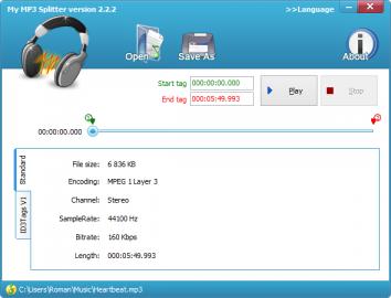 My MP3 Splitter slouží, jak název napovídá, k dělení nahrávek ve formátu MP3
