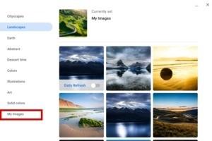 Výběr nové tapety v Chrome OS 76.