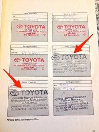 Servisní knížka se zfalšovanými razítky přímo od autorizovaného prodejce Toyota Lowman (Louwman Motor Praha s.r.o.)