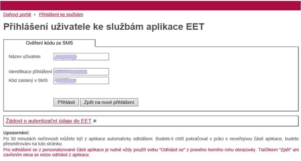 Jak vypadá aplikace EET na Daňovém portálu