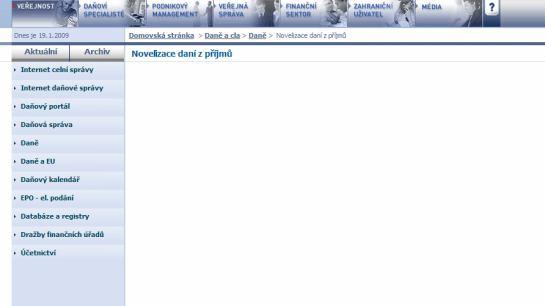 Ministerstvo financí - prázdná stránka