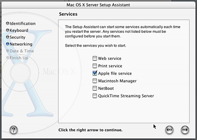 MacOS X Server Setup Assistant