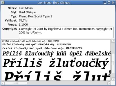 Zobrazení detailních informací o fontu
