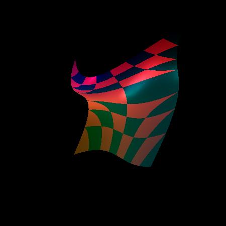Screenshot druhého demonstračního příkladu s povoleným automatickým generováním normálových vektorů