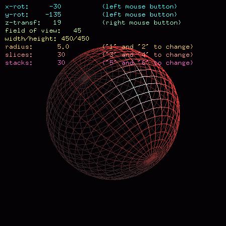 Screenshot druhého demonstračního příkladu se zobrazeným drátovým modelem koule