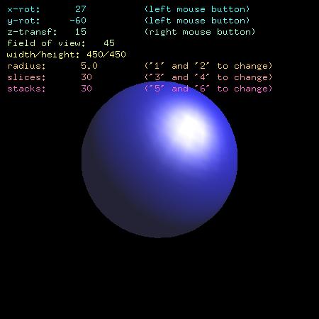 Screenshot třetího demonstračního příkladu se zobrazeným vyplněným a osvětleným modelem koule