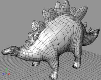 Model stegosaura vytvořený pomocí NURB ploch