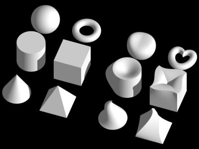 Obrázek 1: Základní tělesa (včetně vybraných kvadrik) vytvořená z NURBS