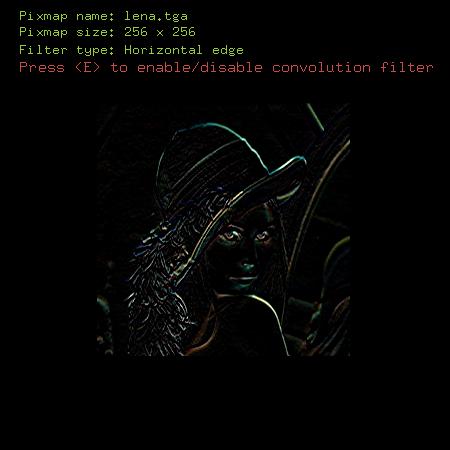 Screenshot třetího příkladu s aplikací filtru pro detekci horizontálních hran
