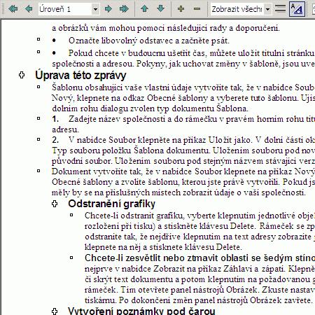 Microsoft Word při práci s osnovou a se zobrazeným toolbarem pro změnu osnovy