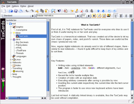 Screenshot outline editoru TuxCards