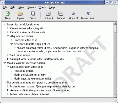 Screenshot návrhu outline editoru Gnome Outliner