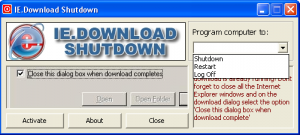 IE.Download Shutdown - náhled